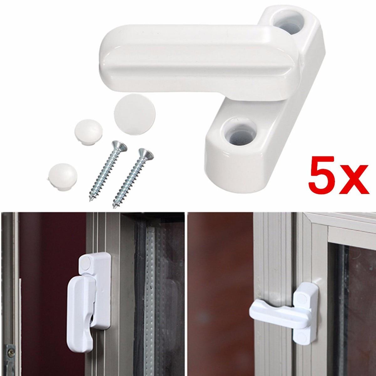 5 uds gran oferta UPVC aluminio antirrobo ventanas cerradura puerta ventana Sash Jammers Extra seguridad cerradura oscilante Latch casa con seguridad