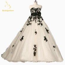 2019 New Fashion Wedding Dress Corset Back Handmade Flowers Black Lace Wedding Ball Gown Champagne Custom Made
