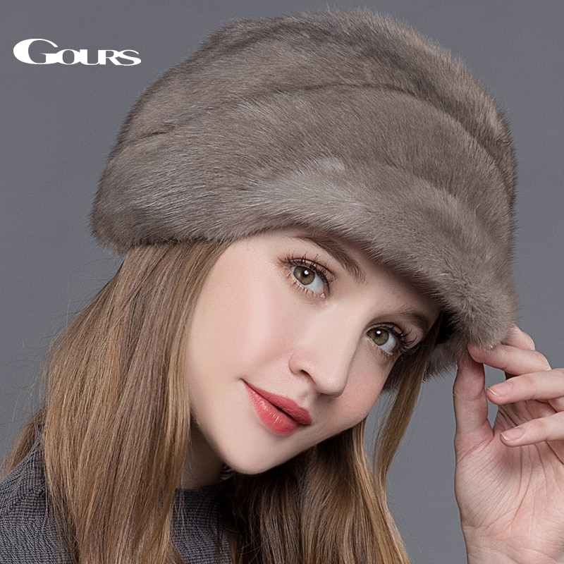 Gours Women's Fur Hats Whole Real Mink Fur Hat with Floral Luxury Fashion Russian Winter Thick Warm High Quality Cap New Arrival