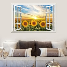 Stickers muraux en tournesol de paysage   Fausse fenêtre, Art vinylique, Stickers muraux créatifs en tournesol pour décoration de salon et de chambre à coucher murales