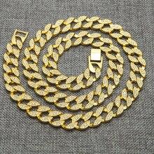 Haute qualité glacé Bling strass cristal Goldgen finition Miami cubain lien chaîne hommes Hip hop collier bijoux 30 pouces