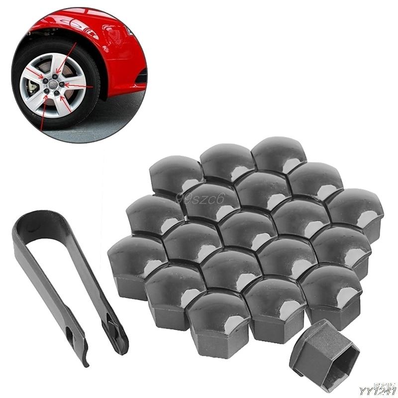 Estilo de coche 20x17mm ruedas de coche tuercas de plástico con herramientas de eliminación de tapa de tornillo para VW AUDI gris accesorios de coche DropShip