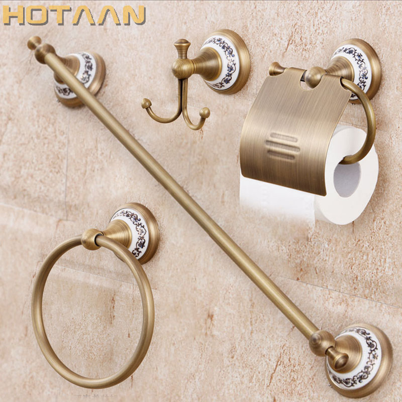 شحن مجاني ، الصلبة النحاس ملحقات الحمام مجموعة ، رداء هوك ، حامل ورق ، منشفة بار ، الصابون سلة ، الحمام مجموعات ، YT-11500-A
