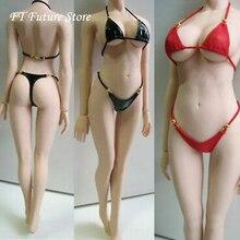 Custom 1/6 Schaal Figuur Kleding Accessoire Sexy Bikini Badpak Onderbroek Beha Kleding Zwart/Rode Kleur Model voor Vrouwelijke Figuur