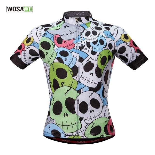 WOSAWE hombres Jerseys de bicicleta-Camisa corta Ciclismo Preto e Branco esqueleto verano reflectante Fitness Ciclismo Jerseys ropa deportiva gimnasio