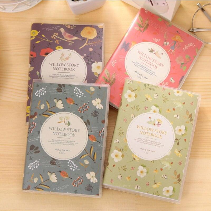Papelería coreana, flores y pájaros coloreados libro escrito PVC cubierta de goma Bloc de notas al por mayor creativo pequeño libro de bolsillo