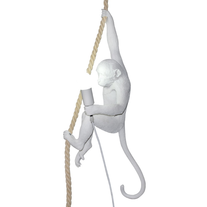 Nouveauté singe E27 suspension Led Simple résine chanvre corde Foyer pendentif Led lampe Loft Led suspendus lumières enfants lumière