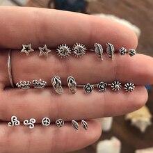 22 pièces/ensemble femmes Boho soleil couronne feuilles fleurs étoiles couleur argent boucle doreille ensemble paix Om Yoga boucle doreille fête bijoux cadeau