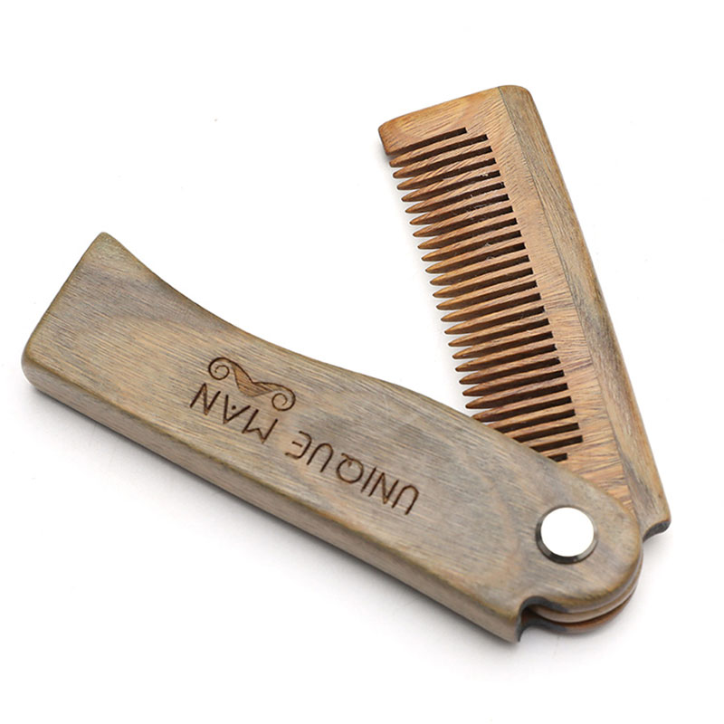 AliExpress - Hot Sale Comb for Beard Natural Green Sandalwood Anti Static Folding Comb Beard Styling Comb Men's Grooming Barber Comb