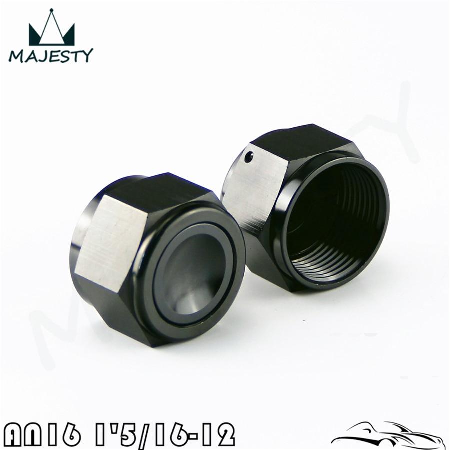 2PCS Aluminum 16-AN AN16 Adapter Female Flare End Cap / Plug / Tube Nut Fitting Black