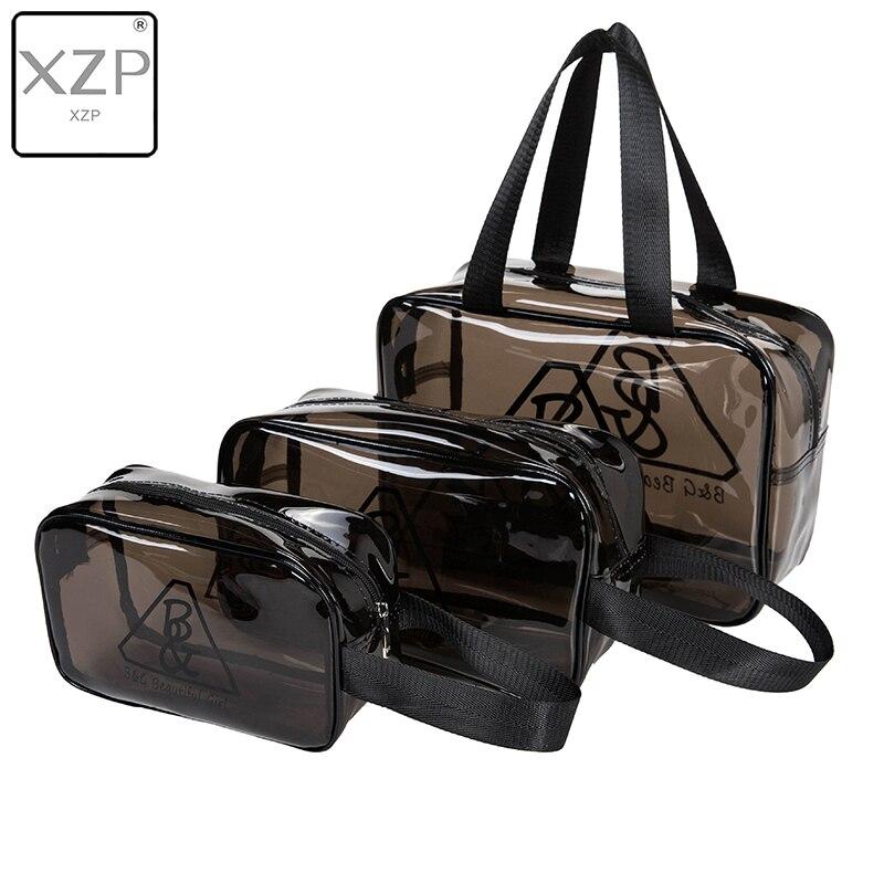 XZP bolso cosmético de viaje resistente al agua de PVC para mujer de 3 tamaños, bolso de maquillaje con cremallera multiusos transparente marrón y negro grueso