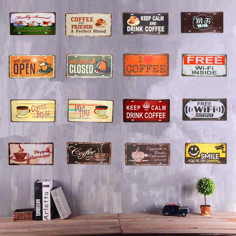 Автомобильный номерной знак, винтажный жестяной знак, бесплатный Wi-Fi, кофейня, кафе, бар, паб, Настенный декор, металлический художественный ...