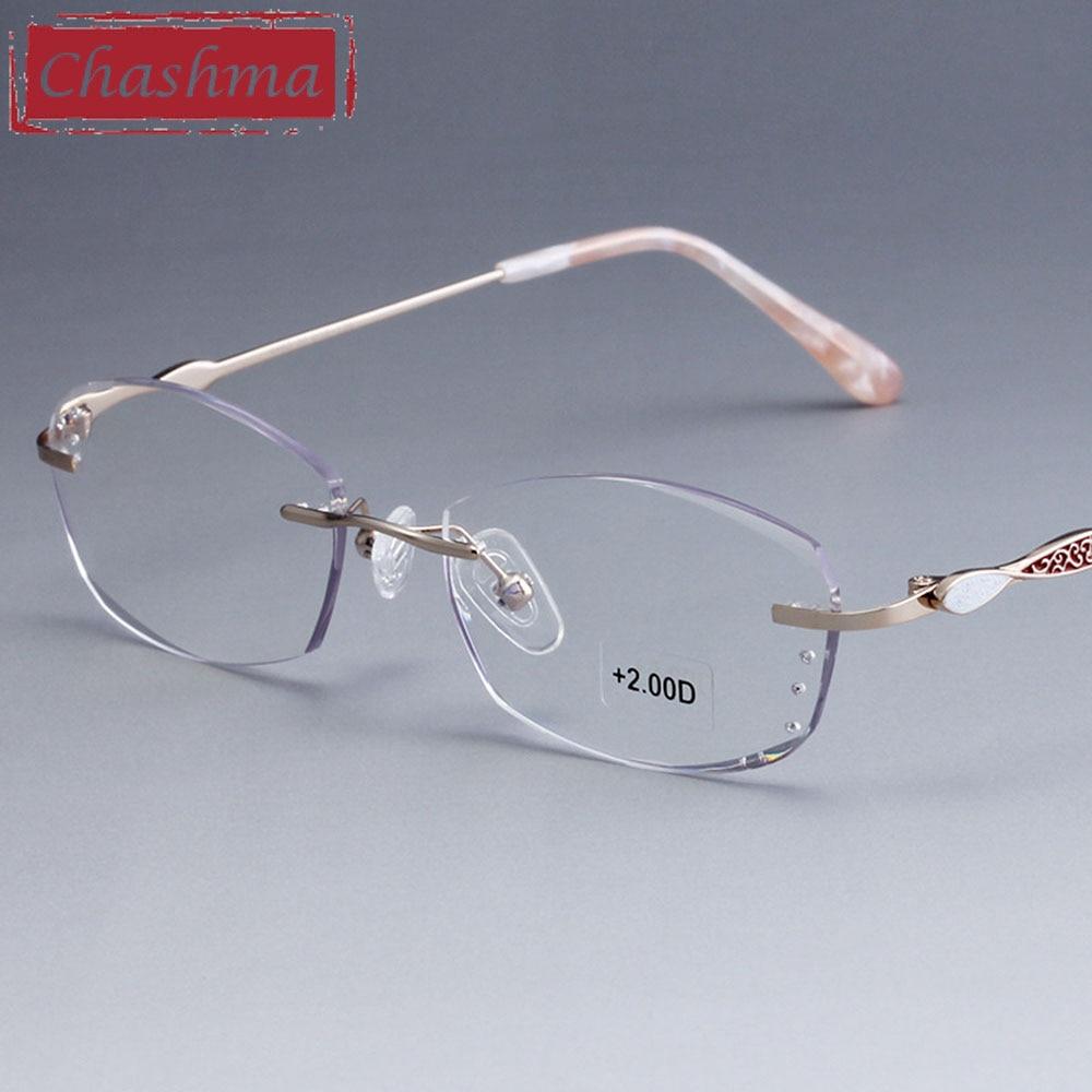 Женские очки без оправы Chashma, высококачественные оптические очки для чтения с алмазной окантовкой, тинт-линзы, очки для чтения