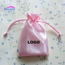 Pochette cadeau en satin avec logo imprimé personnalisé   Sac demballage pour bijoux