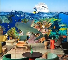 Murales personalizados, corales del mundo submarino peces barcos agua animales fondos de pantalla, salón de hotel sofá tv pared dormitorio 3d pared mural