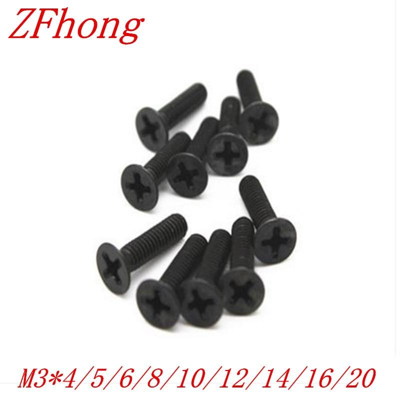 500 Uds M3 * 4/5/6/8/10/12/16 de acero negro plana máquina de cabeza avellanada tornillo