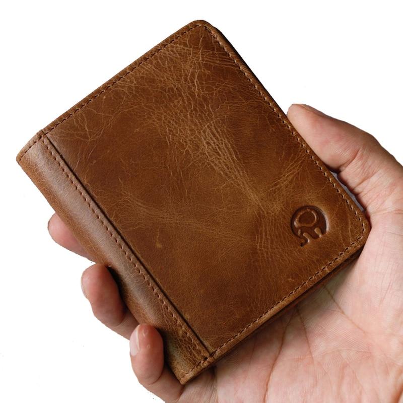Маленький ультратонкий мини-кошелек из 100% натуральной кожи, мужской компактный кошелек ручной работы, кошелек из воловьей кожи с отделение...