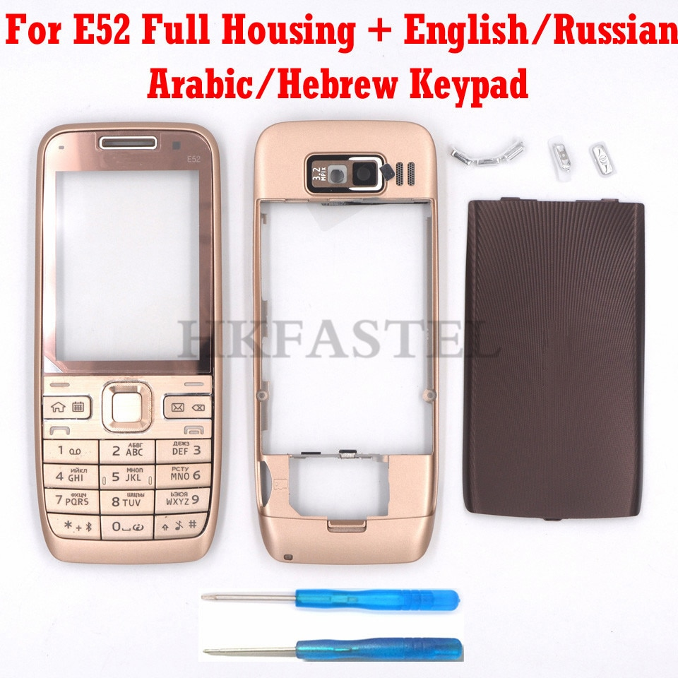 Para Nokia E52 nueva carcasa para teléfono móvil completa teclado Inglés ruso árabe hebreo teclado envío gratis
