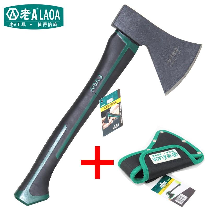 Hacha de tala LAOA para exteriores, hachas de árboles cortadas, doble asa de goma de color, hachas de madera para el hogar, hachas de leña