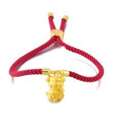 Pulsera de cadena de cuerda roja de estilo nuevo de año del cerdo, pulsera de amuleto de cerdo Dorado de la suerte, accesorios de moda para mujeres de oro y arena vietnamita