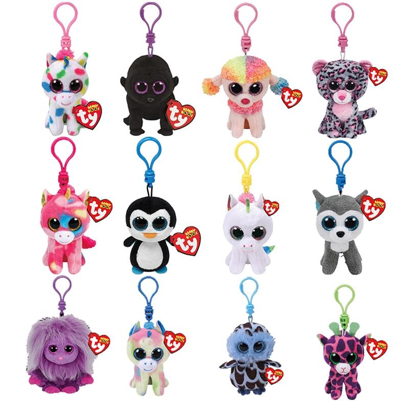 Ty Beanie Babies llavero de perro de peluche unicornio de leopardo búho mono juguetes con clips 10cm pata patrulla serie Skye Rocky escombros Chase