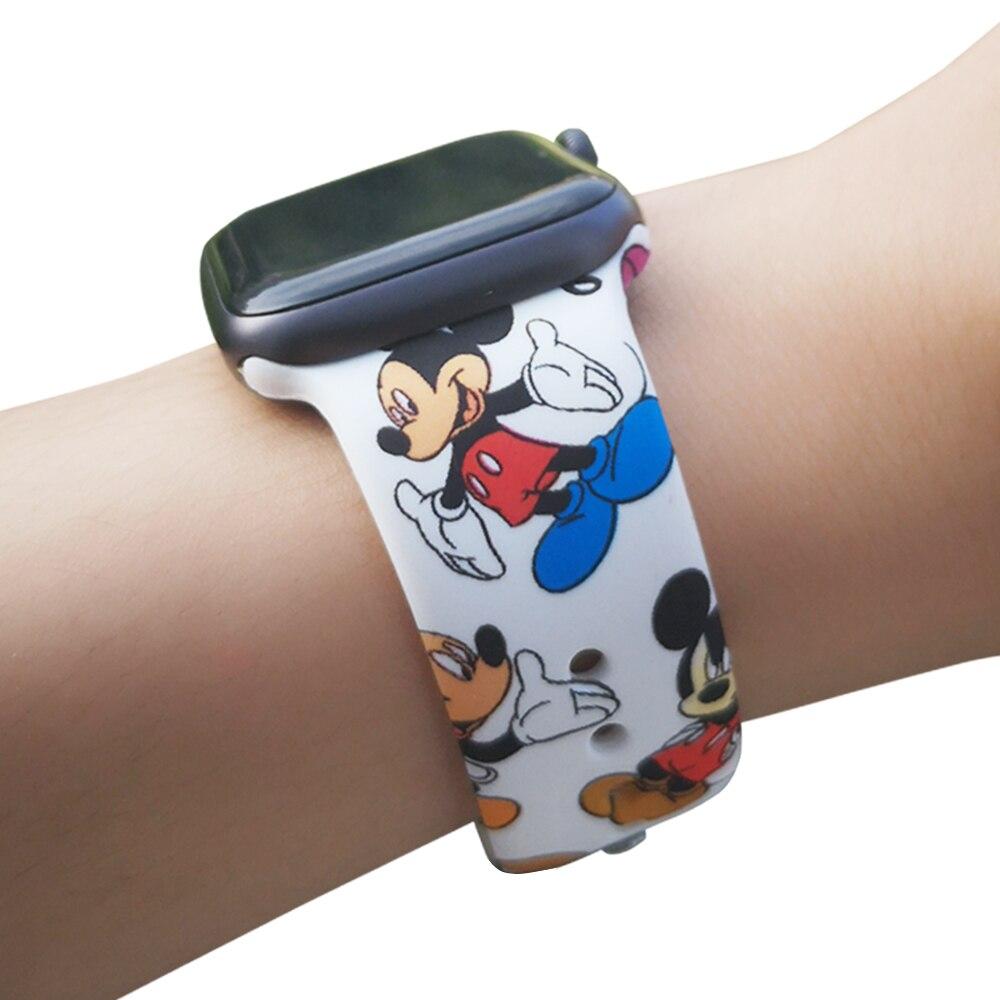 Спортивный силиконовый ремешок для Apple Watch, 38 мм, 42 мм, 40 мм, 44 мм, мягкий ремешок с мультяшной мышкой, женский и мужской браслет для iwatch 5, 4, 3, 2, 1