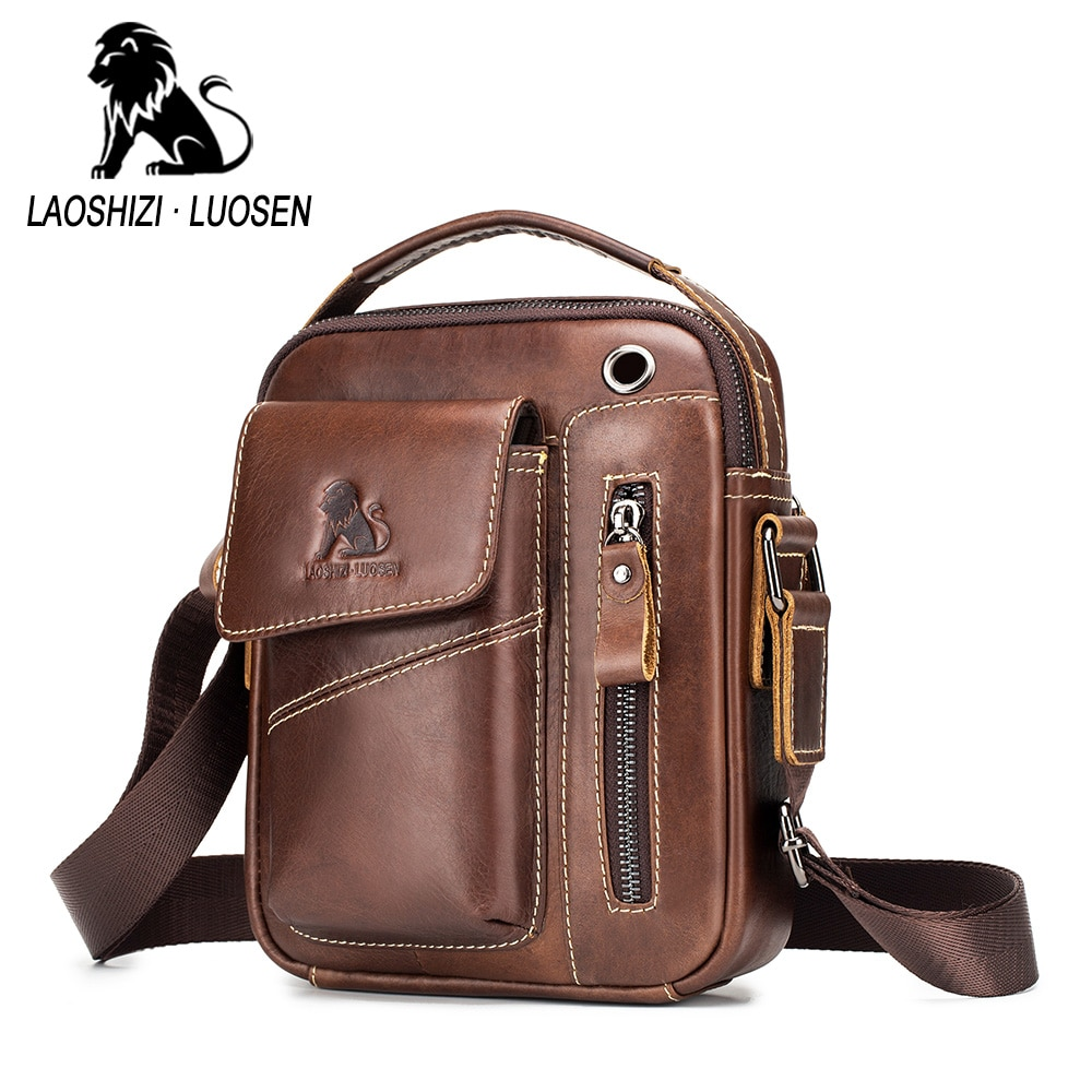 New Genuine Leather man Messenger Bags Vintage cow leather Small Shoulder bag for male men's Crossbody bag Casual Tote handbag