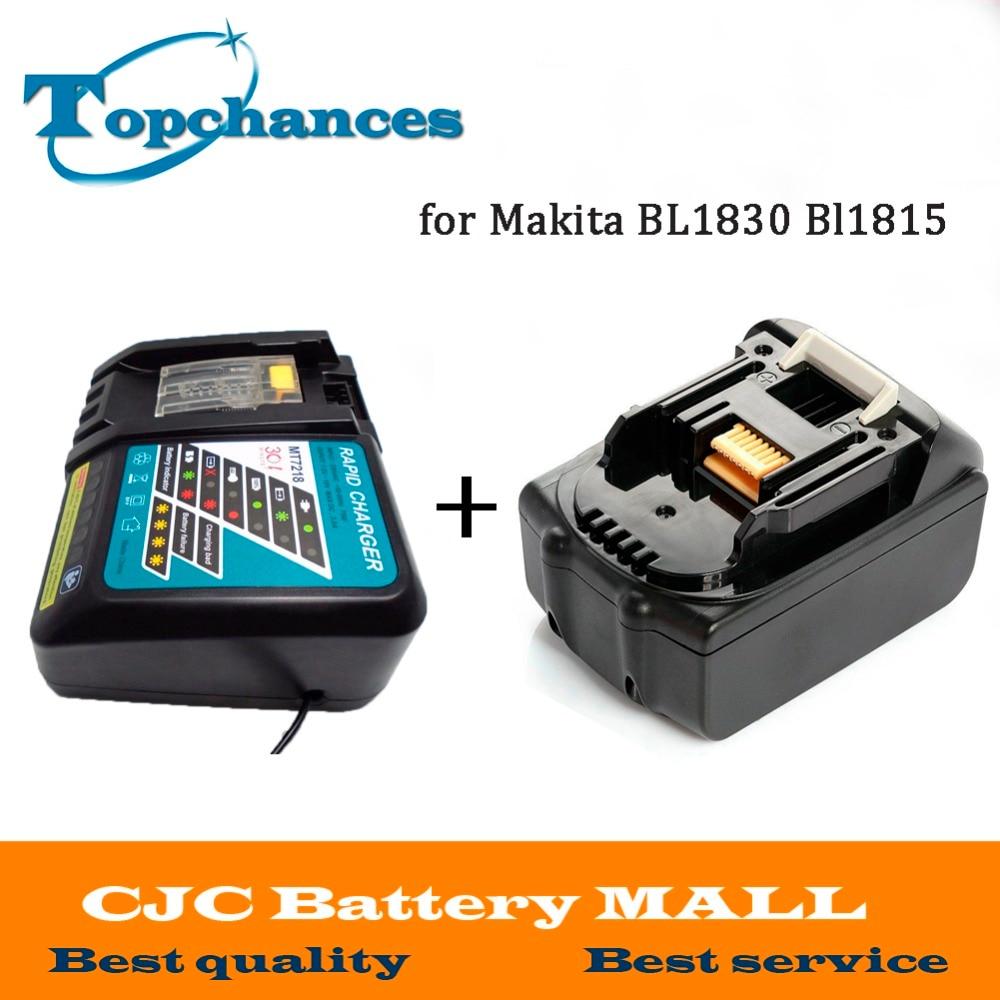 High Quality Brand NEW 3000mAh 18 VOLT Li-Ion Power Tool Battery for Makita 18V BL1830 Bl1815 194230-4 LXT400 + Charger