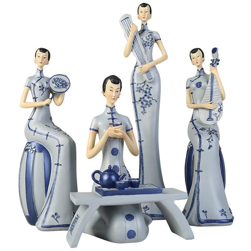 Bandeja de estilo chino para mujer, figura de artesanía de resina, sala de estar, estudio, decoración de porcelana azul y blanca, regalo de inauguración de la casa, decoración del hogar