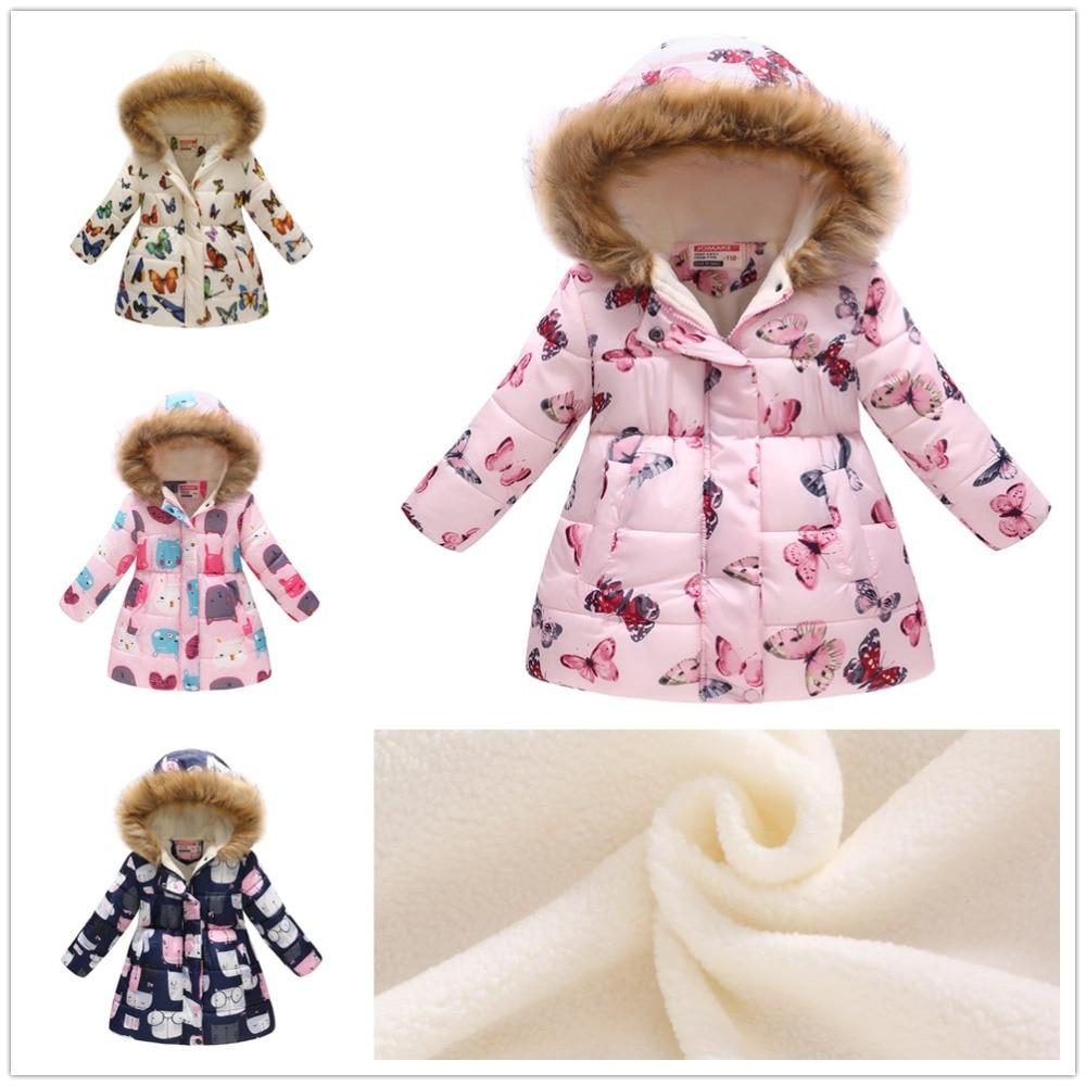 Roze Baby Meisjes Fleece Jas Winter Kinderen Kleding Baby Meisje Donsjack Hoodies Lange Overjas Kid Windjack Outfit Top 4-11Y