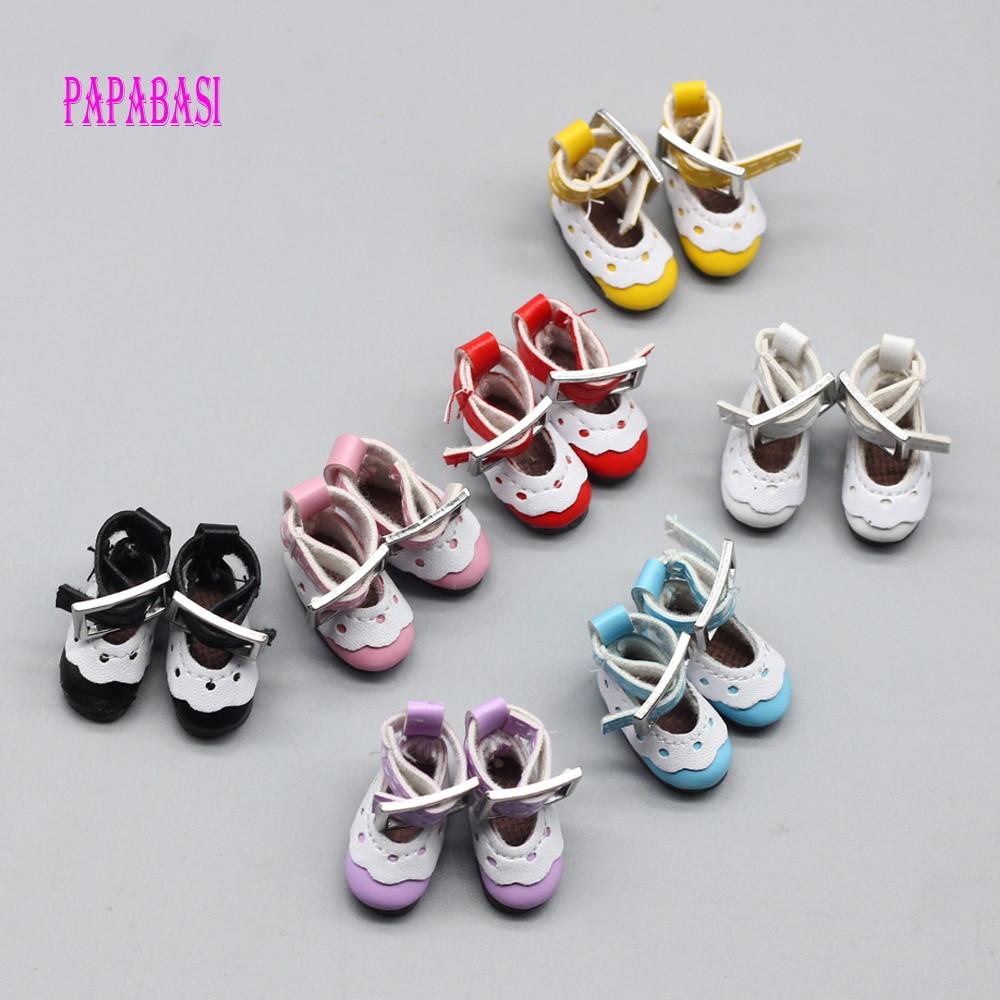 Zapatos de encaje de cuero de 12 pulgadas para muñecas blyth (adecuado para blyth, AZ, licca, muñeca Pullip) 2,8*1,3 cm