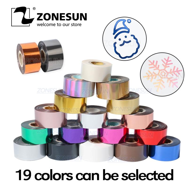 Zonesun 3cm ouro prata rosa vermelha carimbo quente folha de papel transparente cor largura/rolo tamanho personalizado dty latão folha molde 120m