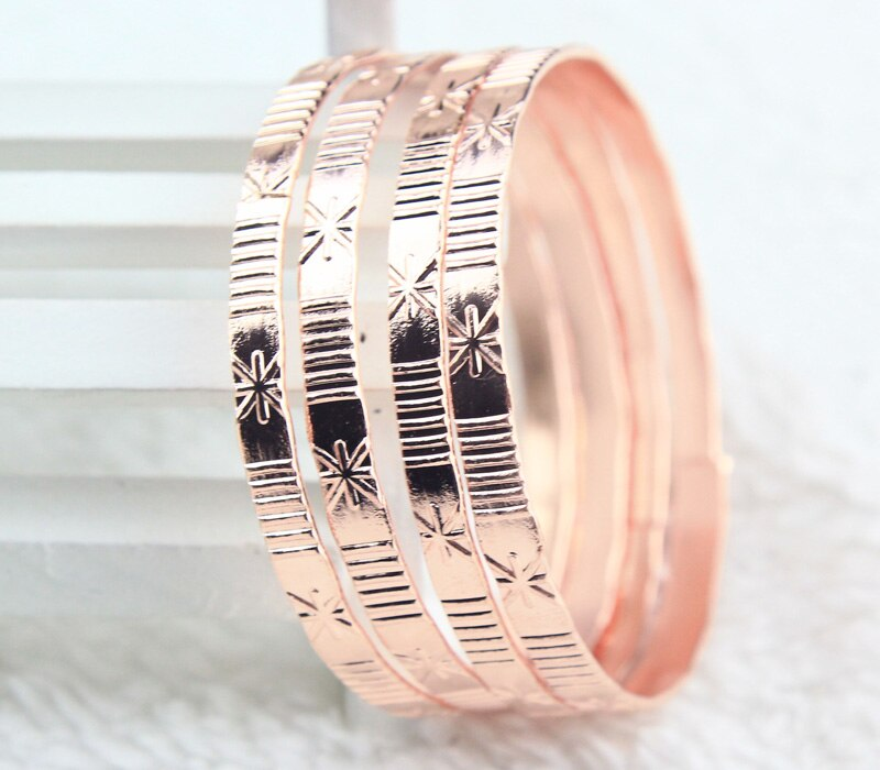 New 4pcs 1 conjunto New Fashion gold plated  Plated baby children kids round band Bangles Cuff Bracelet bracelets Muslim