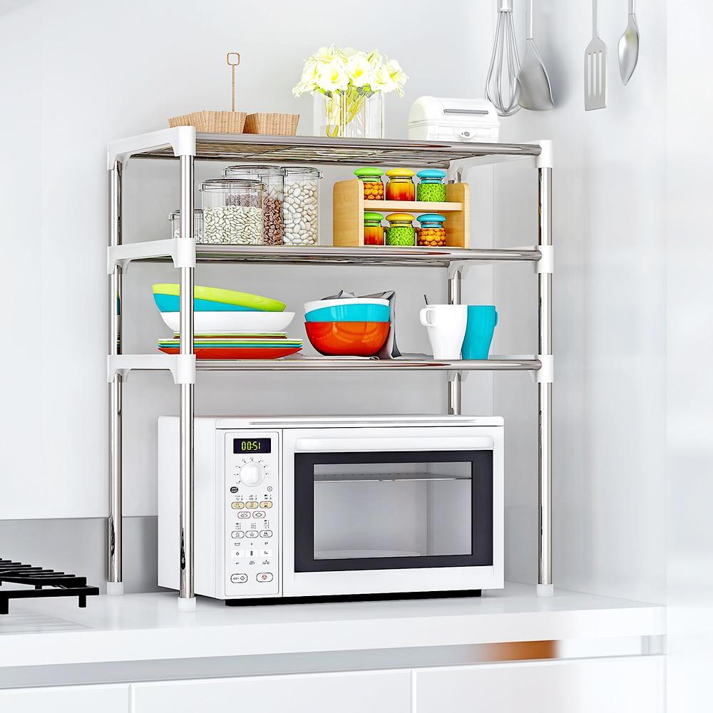 Estantería multifuncional para cocina, estantería para microondas, estantería para horno, estantes de almacenamiento, soportes para estantes de cocina, uso en baño