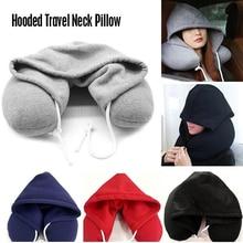 Подушка для шеи тела, однотонная серая хлопковая подушка с ворсом, мягкая u-подушка с капюшоном, текстиль, домашний самолет, автомобильные дорожные аксессуары для подушек