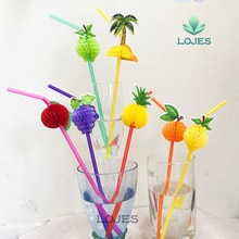 72PCS/Lot 3D Fruit Cocktail Paper Straws Umbrella Drinking Straws Party Bar Decoration holiday party