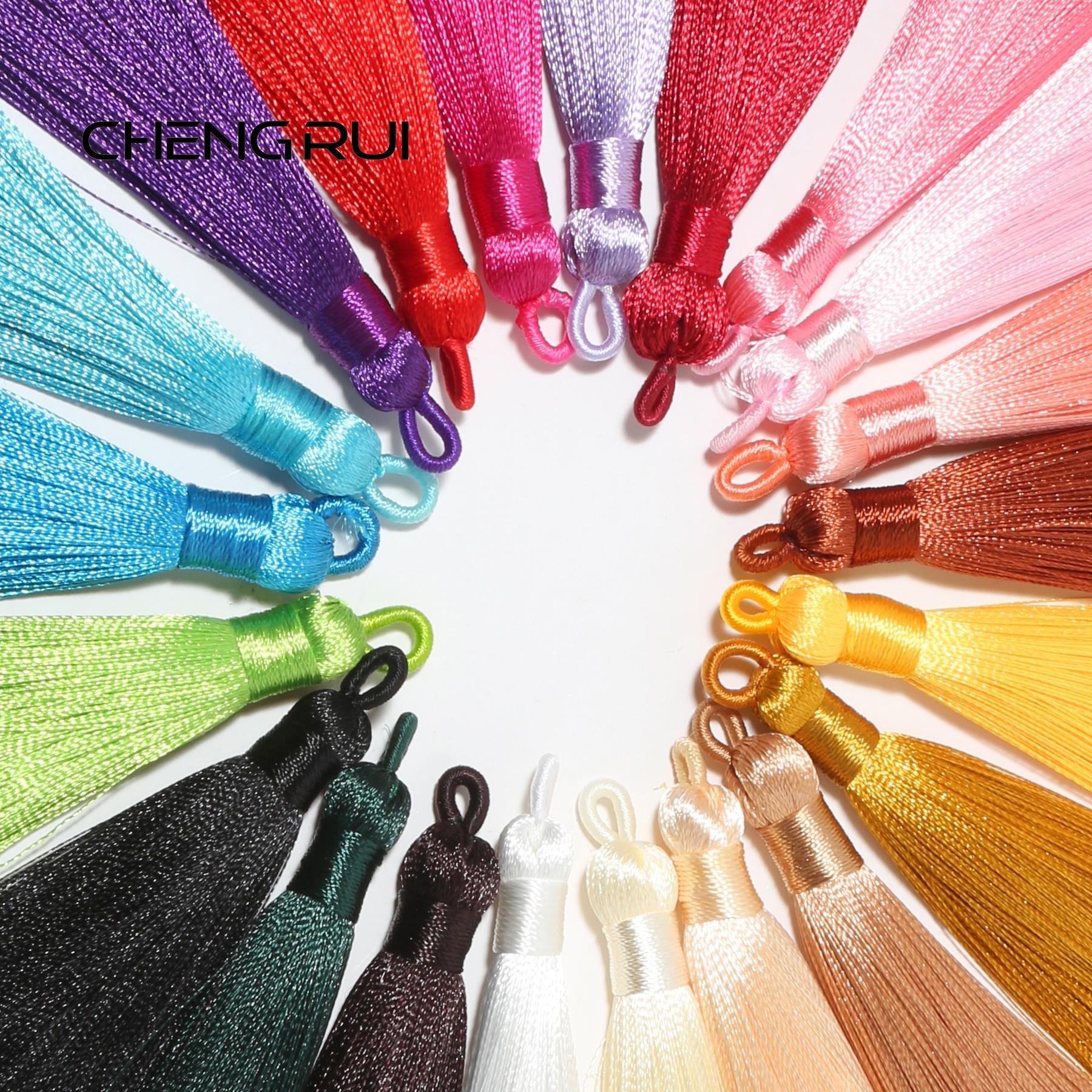 CHENGRUI L191 9,1 cm borlas de seda, accesorios de joyería, pendientes de bricolaje, hechos a mano, encantos, hallazgos de joyería, colgante de bricolaje 10 unids/bolsa