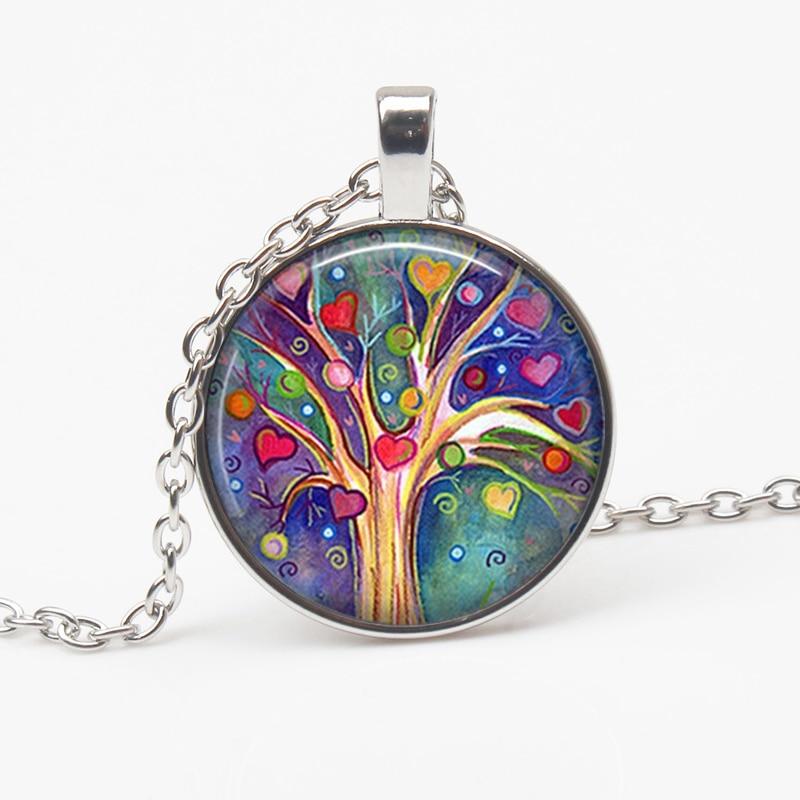 Retro art life tree necklace glass round pendant creative charm sweater chain force jewelry men women favorite gift souvenir