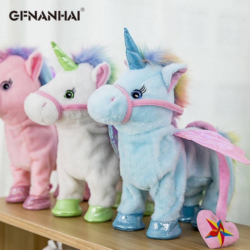 1pc 35cm Electric Walking Unicorn Plush Toy Stuffed Animal Toy Electronic Music Unicorn Toy for Children Christmas Gifts