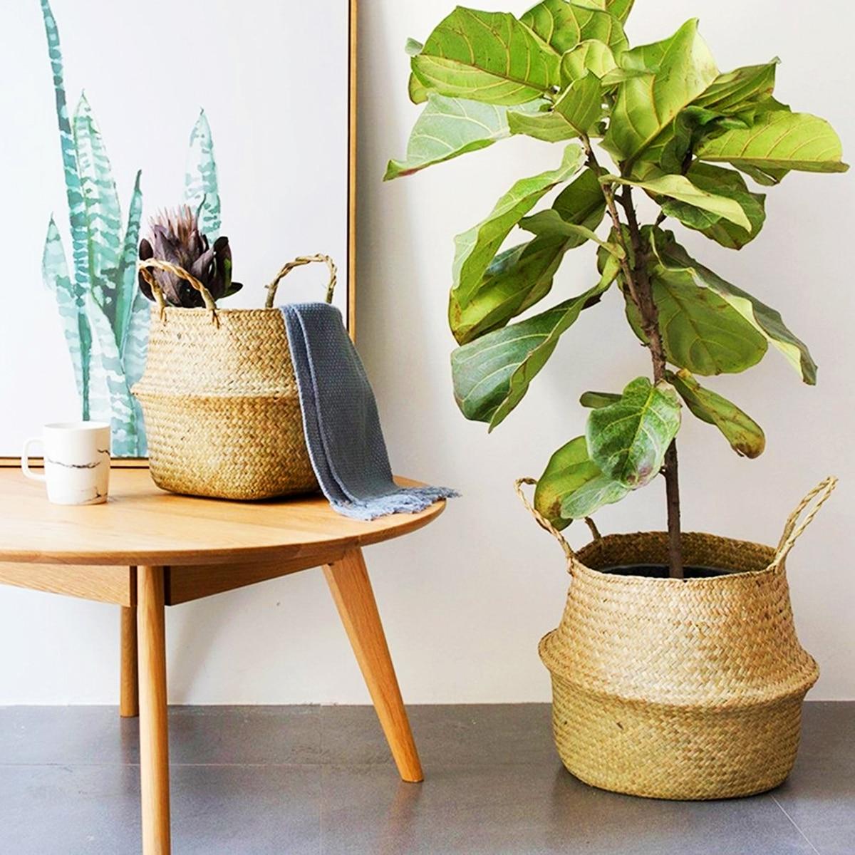 Cesta de bambu dobrável para lavanderia, cesto de bambu/m/g dobrável para lavanderia, decoração, plantas, vasos, sala e jardim plantador de decoração