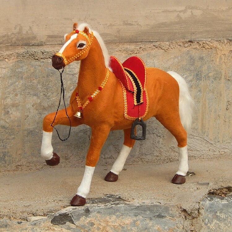 Caballo de juguete de simulación grande marrón de polietileno de la suerte y pieles caballo modelo muñeco caballo regalo sobre 50x40cm 1973