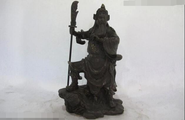 Estatua de Guerrero Guan Gong de bronce cobre chino de 10 pulgadas