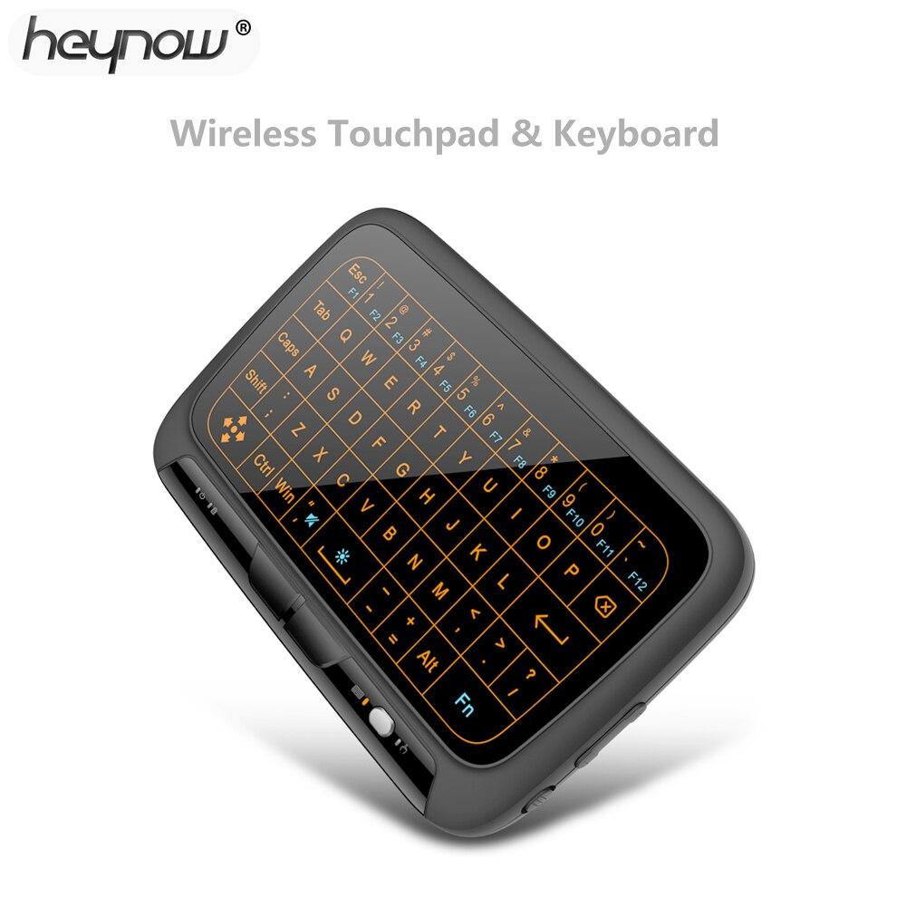 Teclado retroiluminado HEYNOW H18 plus Control remoto Air Mouse y Teclado 2,4 Ghz inalámbrico Touchpad completo para Android TV Box PC