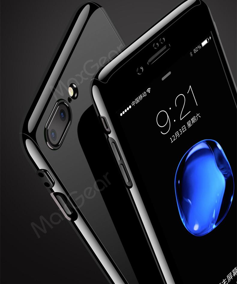 Luksusowe Piano Black 360 Stopni Ciężka PECET Skrzynki Dla Apple iPhone 5 5S SE 6 6 S 7 Plus Szczupła Całe Ciało Pokrywa Capa + Szklany Ekran Protector 6