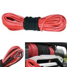 Neuheiten 1/4 X 50 15m * 6mm 7000lbs Rot Abschleppen Seile Winde Seil Synthetische Kabel Linie Mit haken Für ATV UTV Off-Road