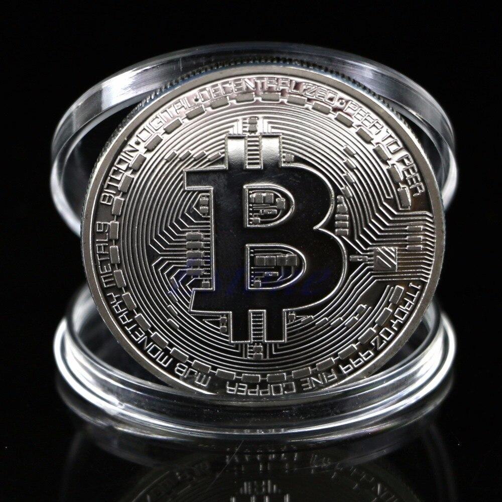 Coins collectibles Silver Plated Bitcoin BTC Coin Art Collection Gift Physical New  Drop shipping