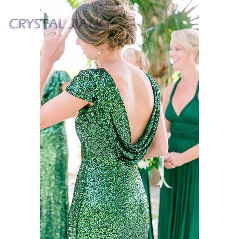 فستان إشبينة العروس أخضر زمردي ، ظهر عاري ، غمد طويل ، فستان وصيفة العروس