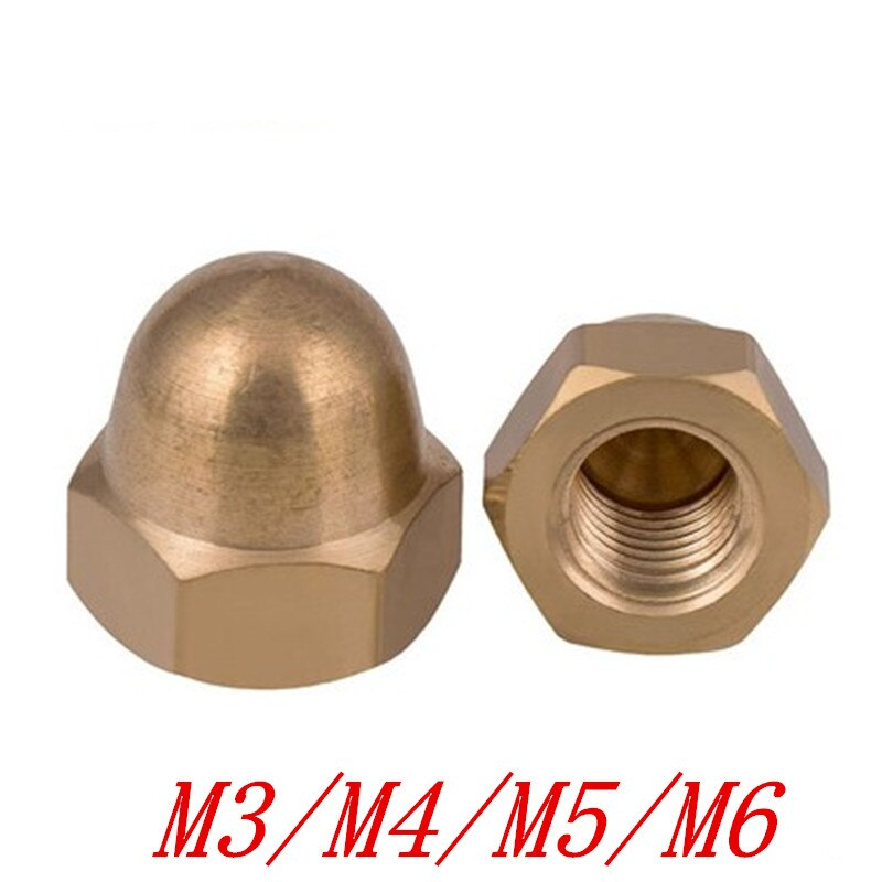 2-10 unids/lote m3 M4 M5 M6 M8 M10 M12 tapa de latón tuercas hexagonales cabeza de cúpula decorativa cubierta semicircular tuerca de bellota