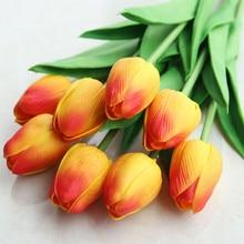 Bouquet de fleurs tulipes artificielles en soie   1 pièce, touche réelle blanche, fausse tulipe, couronne pour décoration de maison, mariage, mariée, haute qualité