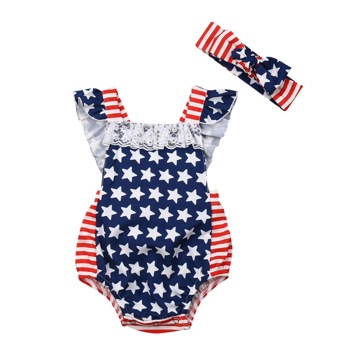 2019 bebé niñas 4th de Julio de trajes de encaje con volantes mameluco bandera americana rayas mono de una sola pieza con diadema Braga
